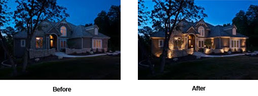 Outdoor Lighting Perspectives before and after